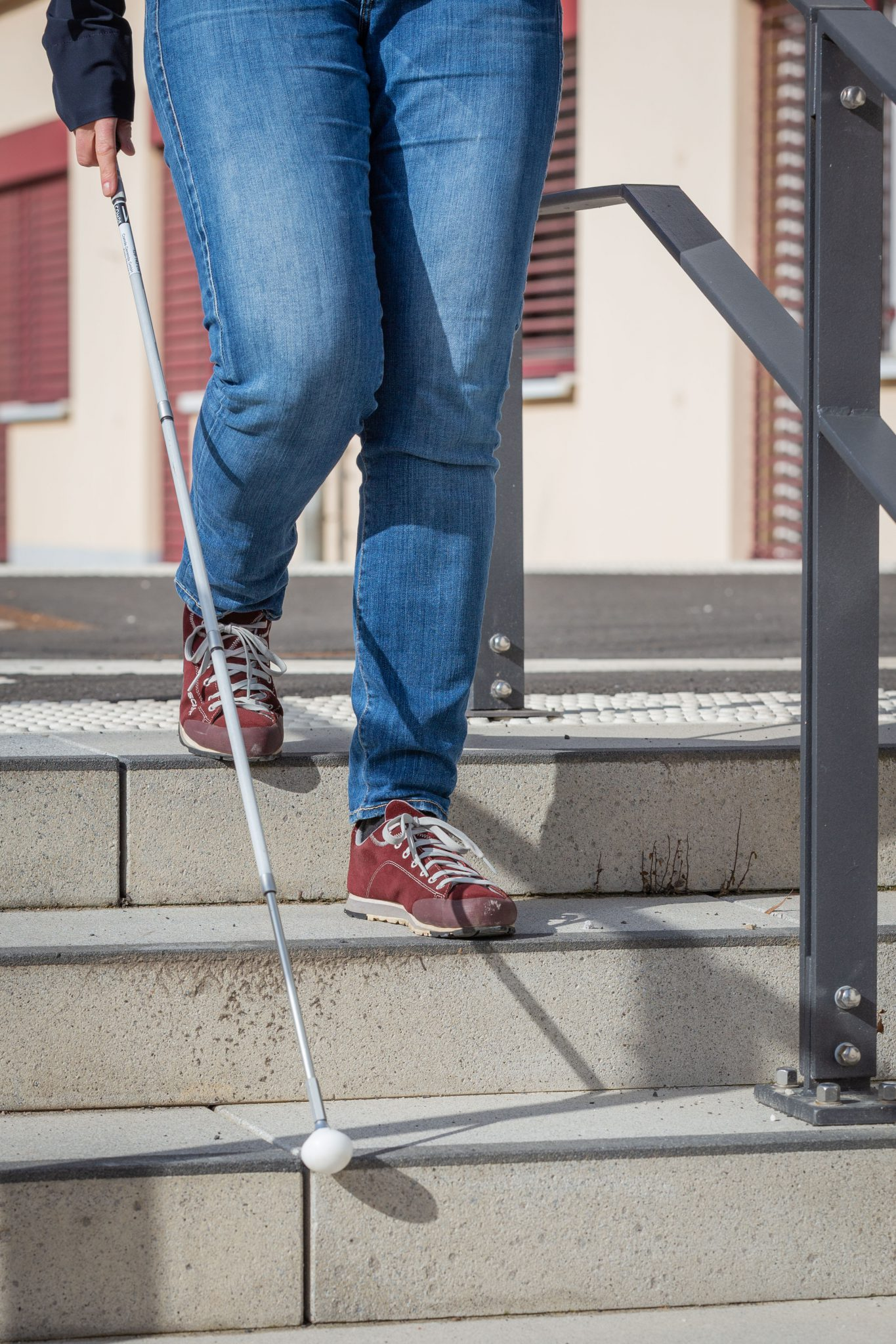 Treppentechnik mit dem Blindenlangstock
